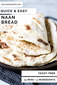 This tasty light and fluffy easy naan bread recipe is ready in just 15 minutes with 4 ingredients Easily vegan gluten-free and a quick yeast free bread Step by step picture tutorial naanbread yeastfreebread flatbread naan easynaan quickbread # Quick Naan Bread Recipe, Recipes With Naan Bread, Indian Naan Bread Recipe, Gluten And Yeast Free Bread Recipe, Recipes With Flour Easy, Greek Flat Bread Recipe, Nann Bread Recipe, Pitta Bread Recipe, Easy Flatbread Recipes