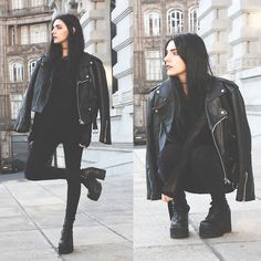 Holynights Claudia - Style Moi Oversized Sweater - All black and moto jacket