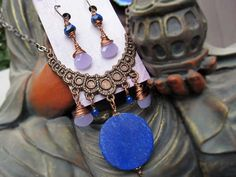 Lapis Statement necklace set purple blue Bohemian jewelry
