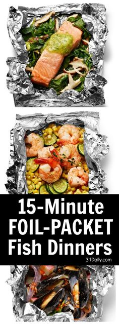 15 Minute Super Easy Foil Packet Fish Dinners Ready for grilling season… or simply looking for a quick-fix oven baked dinner? Consider Foil Packet Fish Dinners as a go-to meal, individually customized and assembled. Tin Foil Dinners, Foil Packet Dinners, Foil Pack Meals, Hobo Dinners, Foil Packet Recipes, Grilling Recipes, Fish Recipes, Seafood Recipes, Dinner Recipes