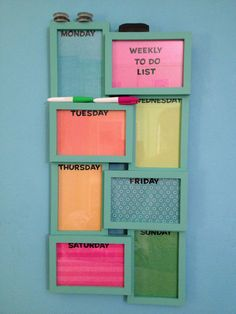 """This collage picture frame turned """"to do"""" list helps you stay organized! Use different colored card stock in each frame with sticker letters for the days of the week. White board markers write on the glass perfectly and wipe away cleanly!"""