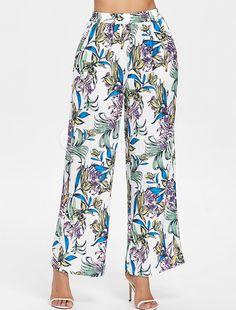 1e5c436ec8 Wide Leg Trousers Women White Printed High Waist Pants  Trousers