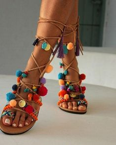 Handmade to order decorated sandals Chili Mango Lace up Sandals Leather Sandals Boho Shoes Pom pom Sandals Gladiator Sandal Greek Sandals, Lace Up Sandals, Bare Foot Sandals, Leather Sandals, Shoes Sandals, Gold Sandals, Shoes Sneakers, Dress Shoes, Bohemian Sandals