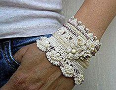 White Cuff Bracelet Crochet Jewelry Bridal jewelry by stasiSpark - Bracelets Jewelry Freeform Crochet, Tunisian Crochet, Crochet Lace, Crochet Beaded Bracelets, Beaded Cuff Bracelet, Cuff Bracelets, Flower Bracelet, Knitting Patterns, Crochet Patterns