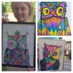 Plakboek: We drew these Crazy Owls with one continuous line! Great summer art project for kids. 3rd Grade Art Lesson, Third Grade Art, Summer Art Projects, School Art Projects, Kids Art Class, Ecole Art, Art Lessons Elementary, Autumn Art, Art Lesson Plans