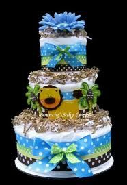 jungle animal diaper cake...my favorite theme
