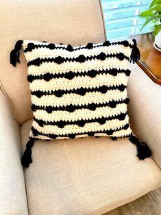 Modern Bobble Throw Pillow Crochet PATTERN Home Decoration | Etsy