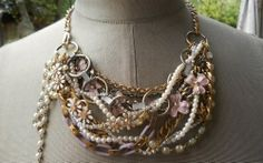 Custom Made To Order Heirloom Statement Necklace with Your Jewelry - Grandma's Jewels Repurposed Necklace Recycled Vinta
