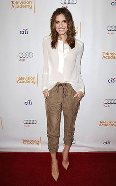 Allison Williams in Brunello Cucinelli top and pants