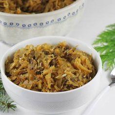 Kapusta z grzybami   AniaGotuje.pl Party Drinks, Japchae, Holiday Recipes, Side Dishes, Risotto, Veggies, Menu, Favorite Recipes, Diet