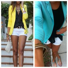White shorts, black lose top, and bright coloured blazer! Perfect for a summer dinner! #success