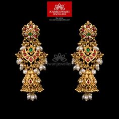 Gold Jewelry Kundan Gottupusalu Jhumkis - Earrings L : inches; W : inches Screw Type : Bombay Screw, Gold Jhumka Earrings, Jewelry Design Earrings, Buy Earrings, Gold Earrings Designs, Gold Jewellery Design, Earrings Online, Gold Jewelry, Handmade Jewellery, Designer Jewellery