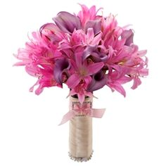 Bella Signora: seasonal bouquet available  August-September. #BellaDonnalilies #Nerineliles #minicallalilies #Weddings #VenetianWeddings #VegasWeddings #Bouquet