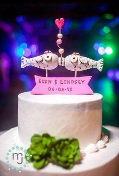 Same-Sex Gay Lesbian Wedding Cake Toppers: Two Kissing Female Fish | Brides.com