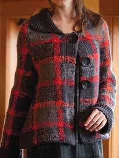 """Knitting Pattern for Breacan Swing Coat - Jacket cardigan with a plaid pattern created with stripes and intarsia. Sizes37½ (40, 42½, 45½, 50½, 56)"""". Designed byGwen Bortner"""