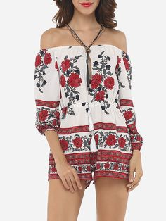 #AdoreWe #FashionMia Rompers - FashionMia Floral Printed Captivating Rompers - AdoreWe.com