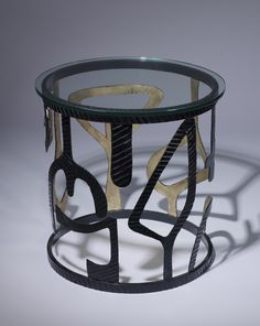 ** wrought iron 'miro' side table in black, gold finish with glass top Unusual Furniture, Bespoke Furniture, Teak Table, Teak Wood, Light Decorations, Wrought Iron, It Is Finished, Glass, Modern