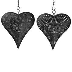Large Hanging Black Patterned Heart Tealight Holder - Two Designs £17.99