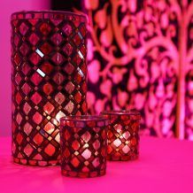 PINK AND RED MOSAIC GLASS LANTERN AND TEA LIGHT VOTIVE FOR WEDDING OR PARTY DECOR     Candleholders Archives - Hire and Style | Hire and Style