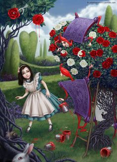 Alice and Gardeners by LiaSelina on DeviantArt - Dinnerrecipeshealthy sites Lewis Carroll, Sentimental Circus, Alice Liddell, Painting The Roses Red, Chesire Cat, Alice Madness Returns, Adventures In Wonderland, Wonderland Alice, Were All Mad Here