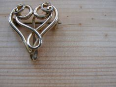SOLD Gold Plated Heart Brooch  dating from 1940s by LittleCottageAttic