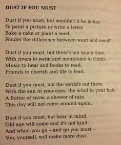 Dust if you must...a reminder of the more important things