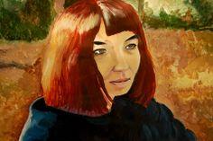 Acrílico sobre papel por Sabina Kohn.  Tercero Medio. 2013.  Retrato/ Clase de Arte.