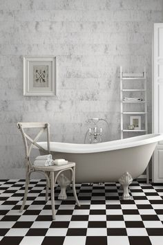 Want to consider Victorian style bathrooms? we have the perfect checkerboard Spanish tile. with a pre-jointcut, this 450mmx450mm tile is easy to install and available through decobella. see more by viewing our website.    #ihavethisthingwithfloors #decobe