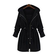 Fensajomon Men Hooded Longline Plus Size Fall Winter Warm Thicken Quilted Jacket Coat Outerwear