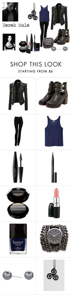 """Derek Hale inspired outfit"" by queen-of-some-fandoms ❤ liked on Polyvore featuring Doublju, Boohoo, Armani Jeans, Monki, MAKE UP FOR EVER, Givenchy, Giorgio Armani, MAC Cosmetics, Butter London and Sara Designs"