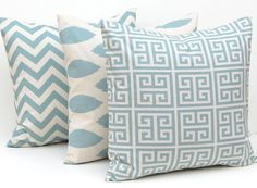 Throw Pillow Covers Blue on Natural Greek Key, Chevron and Ikat Decorative Pillow Covers 16 x 16 Inches Set of Three. $48.00, via Etsy.