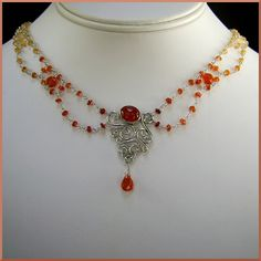 Aeron Sterling Silver filigree necklace with Fire Opal