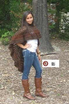 FASHION CAPELET PONCHO Crochet Brown Free Shipping by marianavail, $95.00