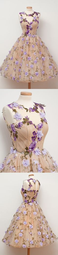 Charming Hadmade Flowers Pretty Teenagers Short Homecoming Dresses,