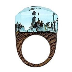 £19.49 size S TENGZHEN Jewelry Handmade Wood Resin Rings Magical Miniature Snow Worlds Inside Ring Jewelry For Womens: Amazon.co.uk: Jewellery