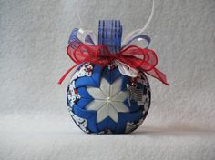 Quilted no sew fabric ornament  blue and by KCFabricOrnaments, $15.00