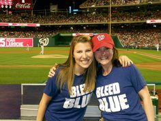 Rachel and Kerry enjoying the Nationals vs. Yankees series opener at the Nationals Stadium in Washington DC. That blue shirt goes great with the red hat. Bleed Blue!
