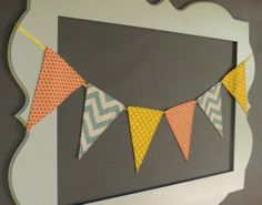 Mix and match, blue chevron, orange and yellow, fabric flag banner. Spring banner, party banner, photo prop, spring trends, photography prop on Etsy, $30.00