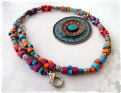 Colorful boho necklace, ethnic hippie festival Southwestern jewelry, aztec bohemian necklace, multicolored tribal necklace, summer jewelry on Etsy, $49.00
