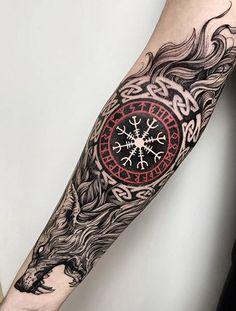 Best Sleeve Tattoos, Tattoo Sleeve Designs, Tattoo Designs Men, Hand Tattoos, Cool Tattoos, Norse Mythology Tattoo, Norse Tattoo, Viking Tattoo Symbols, Viking Tattoos For Men