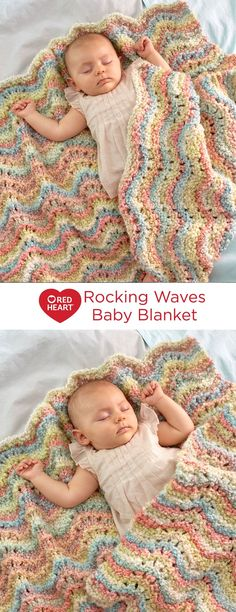 Rocking Waves Blanket Free Knitting Pattern in Red Heart Yarns -- A restful knit wave pattern combined with the soft, textured yarn is perfect for baby's quiet times. Using this bulky multi-colored yarn means your blanket is wonderfully colorful without needing to change yarn colors.