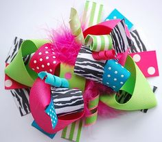 boutique FUNKY fun bright ZEBRA hair bow clip by andjane on Etsy. - would be just adorable on a little girl.