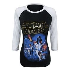 Star Wars Poster Women's Raglan T-Shirt ❤ liked on Polyvore featuring tops, t-shirts, raglan tee, raglan sleeve top, raglan sleeve tee, raglan t shirts and raglan sleeve t shirts