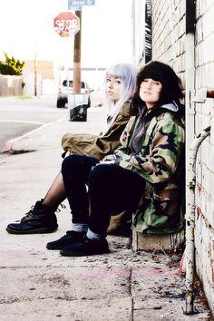 Pastel grunge hipster girl Los Angeles city street Scene teen portrait photography