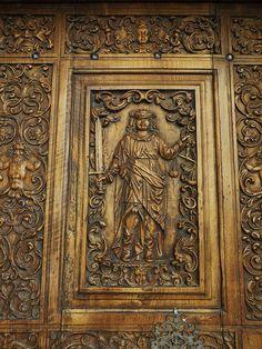 Allégorie de la Justice, porte de l'Hôtel de Ville (XVIIe), rue du Grand Pont, Sion, canton du Valais, Suisse. #door Justice