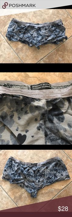 Vintage Free People Maison Scotch Boxer Short Free People Maison Scotch Boxer Short. Printed cotton/silk unique boxer shorts with elastic waist that have Maison Scotch logo, Bohemian Chique logo on back. Purchased at FP years ago. Worn a bit, has wrinkles, size 1 (fits like XS).   Amsterdam-based Scotch Soda's women's collection, Maison Scotch, is defined by great garments that suit every individual, typically inspired by the best tried and tested classic and vintage styles, enriched with a…