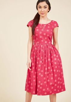 Emily and Fin Unmatched Panache Midi Dress in Dotted Magenta in XXS - Cap A-line Knee Length by Emily and Fin from ModCloth