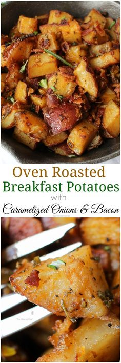 Oven Roasted Breakfast Potatoes - Perfectly seasoned and roasted red-skin potatoes topped with caramelized onions, crispy bacon and fresh herbs. The perfect side dish for breakfast! # breakfast potatoes Oven Roasted Breakfast Potatoes - The Chunky Chef Roasted Red Skin Potatoes, Roasted Onions, Roasted Artichokes, Little Lunch, Think Food, Potato Dishes, Breakfast Time, Bacon Breakfast, Birthday Breakfast