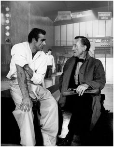 Sean Connery and Ian Fleming on the set of Dr. No, 1962.