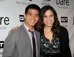 Former Godspell cast mates Telly Leung and Lindsay Mendez reunite at New World Stages before the opening night performance of Bare.(© Miguel Munguia)